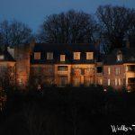 Historic Bothwell Lodge illuminated at night