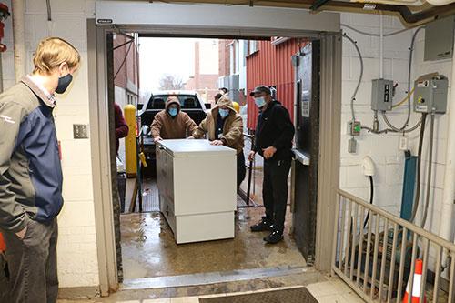 Gardner Denver delivers the vaccine freezer to Bothwell Regional Health Center