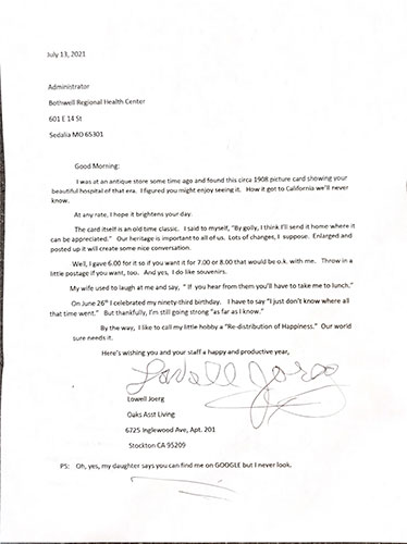 A letter from Lowell Joerg address to Bothwell Regional Health Center