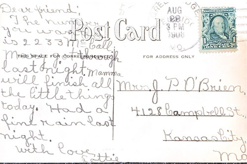 The back of a postcard of Maywood Hospital from 1908