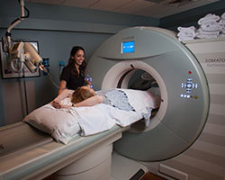 Bothwell Regional Health Center radiology unit patient undergoing a scan