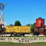 The Missouri State Fair railcar and railroad monument on a sunny day